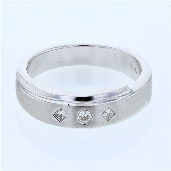 Natural 0.18 CTW Princess Diamond Ring 18K White Gold - REF-121N5Y