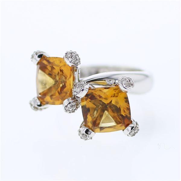Natural 8.12 CTW Citrine & Diamond Ring 14K White Gold - REF-99W2H