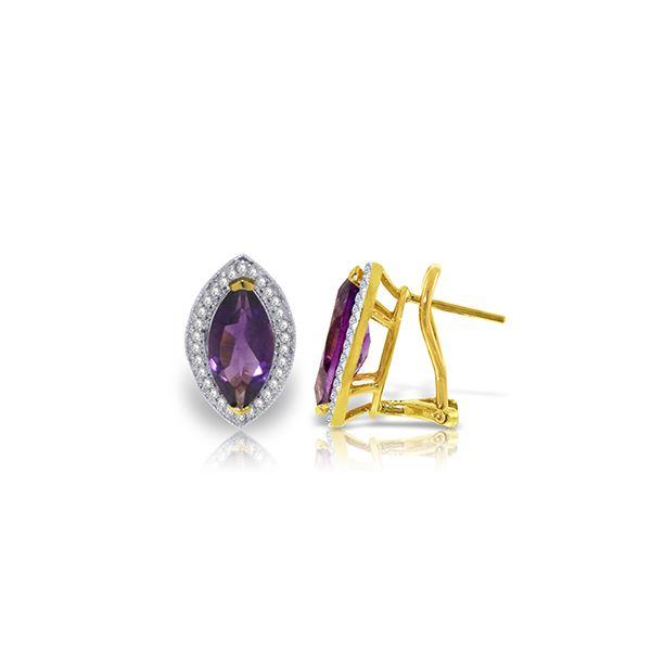 Genuine 3.6 ctw Amethyst & Diamond Earrings 14KT Yellow Gold - REF-102X2M
