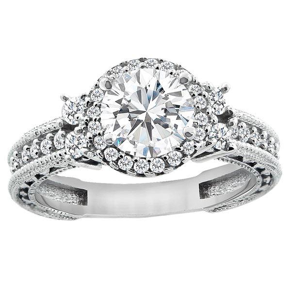 1.15 CTW Diamond Ring 14K White Gold - REF-305X4M