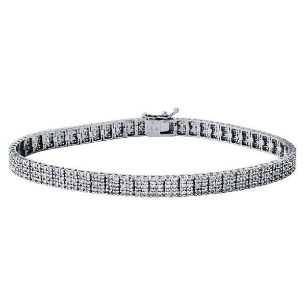Natural 17.89 CTW Baguette & Bracelet 18K White Gold - REF-2319K3R