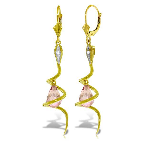 Genuine 4.56 ctw Pink Topaz & Diamond Earrings 14KT Yellow Gold - REF-91T4A