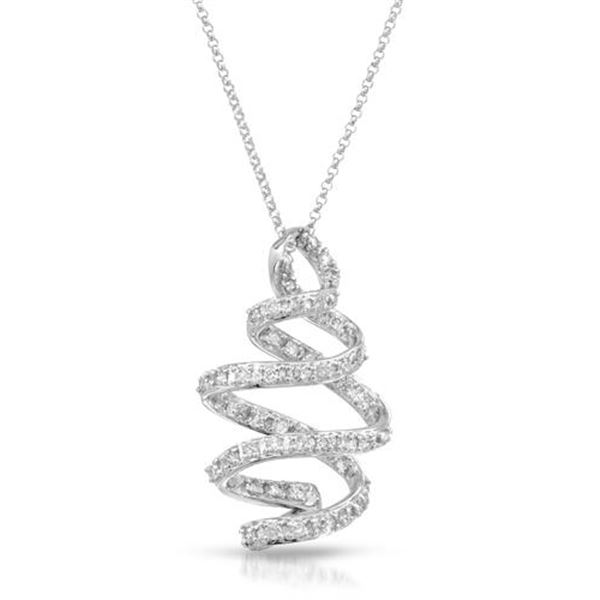 Natural 1.17 CTW Diamond Necklace 14K White Gold - REF-119W7H