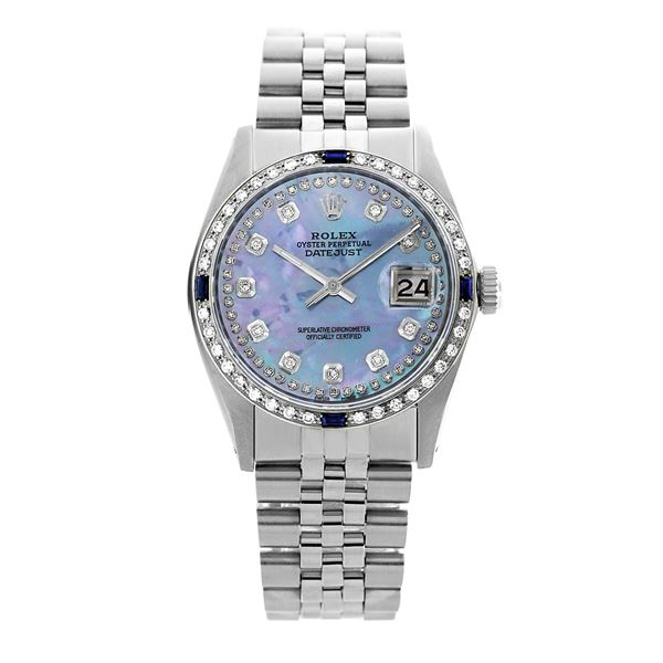 Rolex Pre-owned 36mm Mens String Blue MOP Stainless Steel
