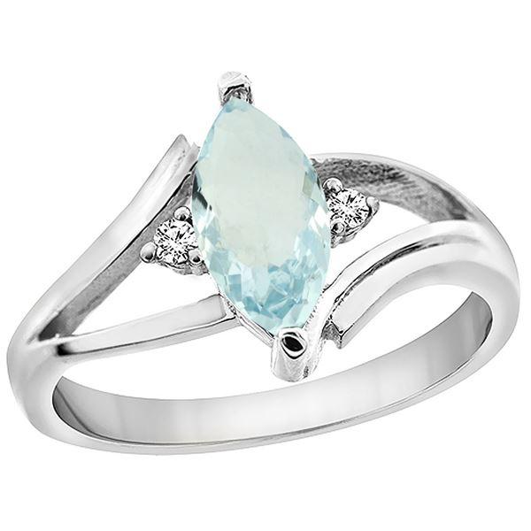 0.94 CTW Aquamarine & Diamond Ring 14K White Gold - REF-35N6Y