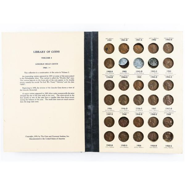 Estate Vintage - Library of Coins Album  Lincoln Cents, Part 2 - 1941 -> Vol, 3 Good  Collection US