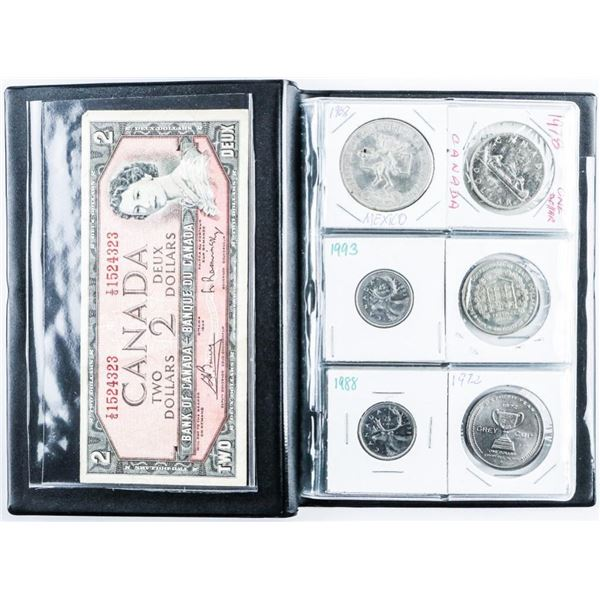 Coin Stock Book with (24) World Coins with  Silver, Plus 1954 2.00