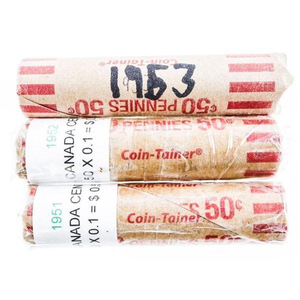 Lot (3) Rolls CANADA Cents 1951-1952-1953