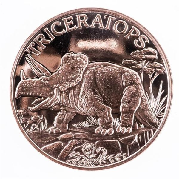Collectible Triceratops .999 Pure Copper  Round 1oz