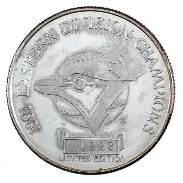 Eastern Division Champs 1991 Blue Jays, LE  .999 Fine Silver 1oz ASW
