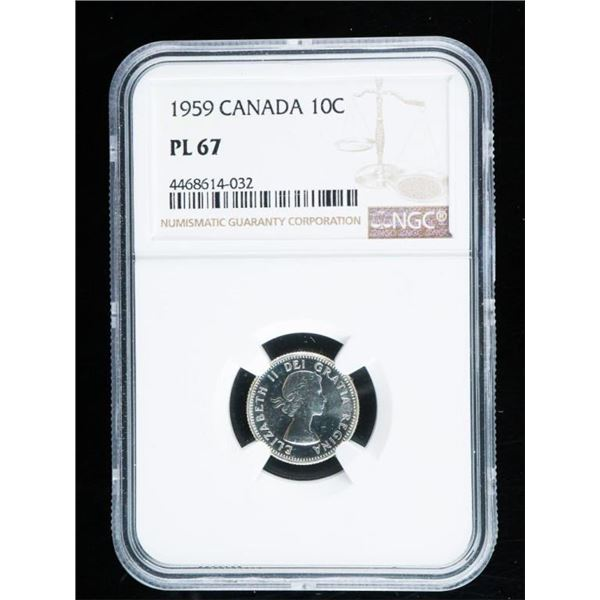 1959 Canada Silver 10 Cents PL67