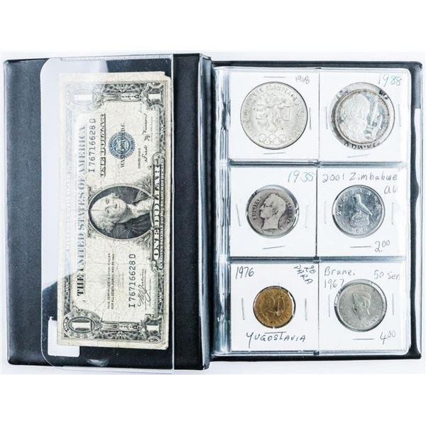 Coin Stock Book with (24) World Coins with  Silver, Plus USA 1935 1.00 Note