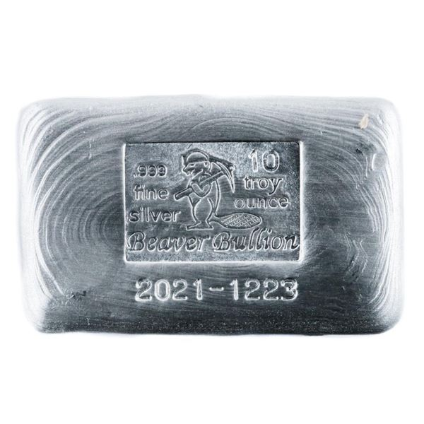 Beaver Collector Bullion Brick .9999 Fine  Silver Hand Poured Brick 10oz Troy ASW.  Dated, Serial Ma