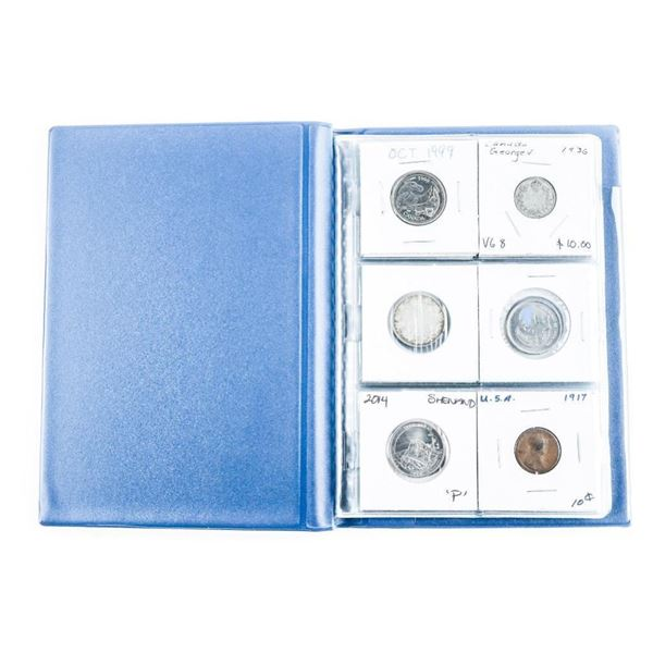 Coin Stock Book with (12) World Coins  Includes Silver
