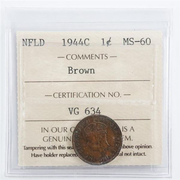 NFLD 1944C One Cent MS60 Brown ICCS