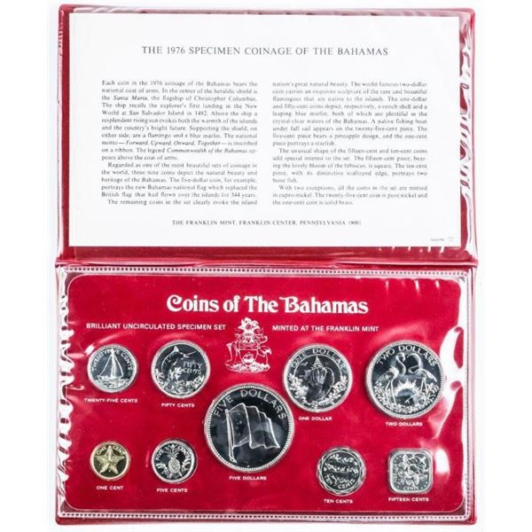 1976 Specimen Coinage of the Bahamas - 9 Coin  Set