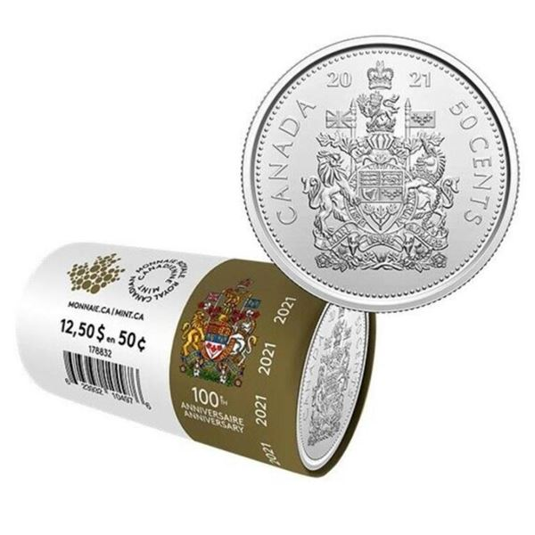 RCM 2021 Special Wrap Roll Canada 50 Cent  100th Anniversary Queen Elizabeth II 25 Coins