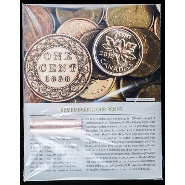 REMEMBERING Our Penny 1858-2012 Roll From  Final Run 2012, 50 Coins with 8x10 Art Card