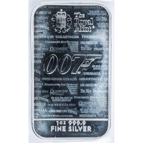 Royal Mint '007' Collector .999 Fine Silver  Bullion Bar 1oz ASW
