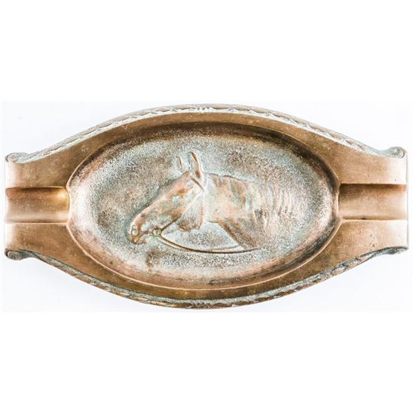 "Solid Brass - Horse Motif Ashtray 7.5""  Mitchell Brass Co. Canada"