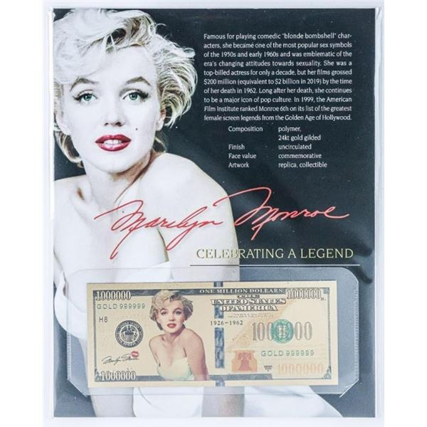 Marilyn Monroe 1926-1962 24kt Gold Gilded  Million Dollar Note with Art Card