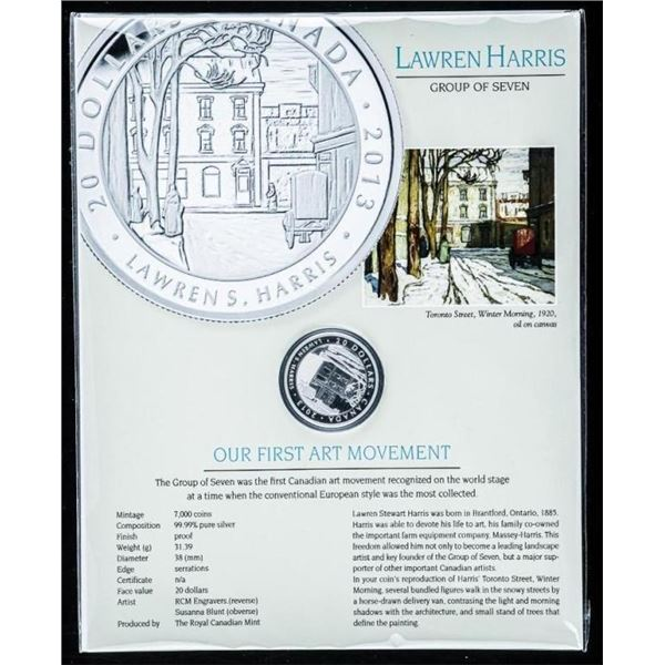Lawren Harris - Toronto Street, Winter  Morning .999 Fine Silver $20.00 Coin with  C.O.A Proof LE 70