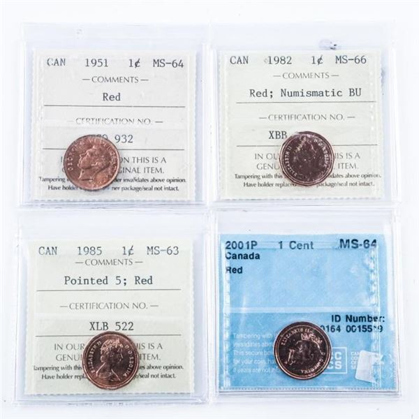 Group of (4) Canada 1 Cent: 1951 MS64, 1982  MS66, 1985 MS63, 2001P MS64, ICCS and CCCS