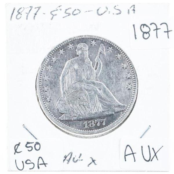 (619) 1877 USA Half Dollar Silver (AUX)