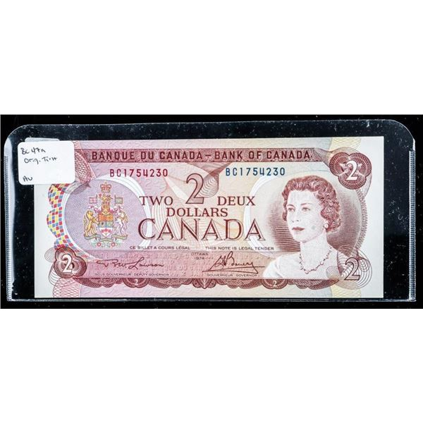 Bank of Canada 1974 2.00 (AU) Original Tint
