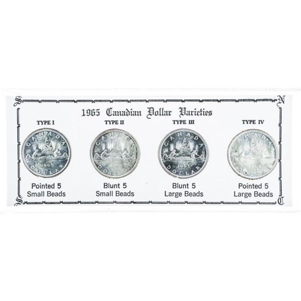 1965 CANADIAN Dollar Varities ' Four  Varitiies' TYPE 1 - III