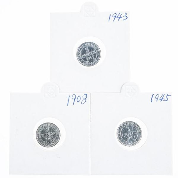 Lot (3) NFLD Silver 5 Cents: 1908, 1943, 1945