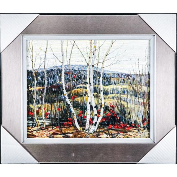 "Group of Seven - Studio Panel, Birchwood,  Gallery Frame 18x21"" Unsigned"