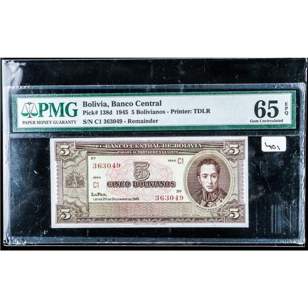 (584) Bolivia Banco Central 1945 Bolivaianos  GEM UNC 65 PMG