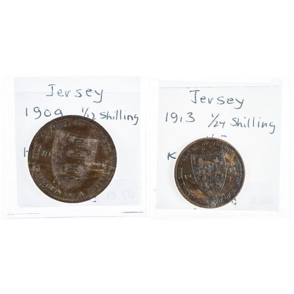 Lot (2) Jersey Coins: 1909 1/2 Shilling,  1913, 1/24 Shilling