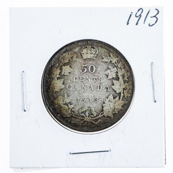 1913 CANADA Silver 50 Cents