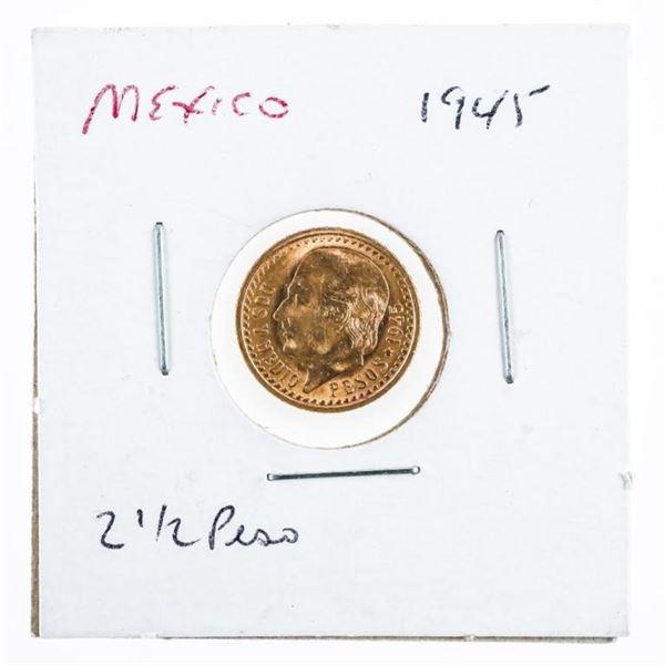 Mexico 1945 2 1/2 Peso Gold Coin .900 Fine  1.6666 Grams