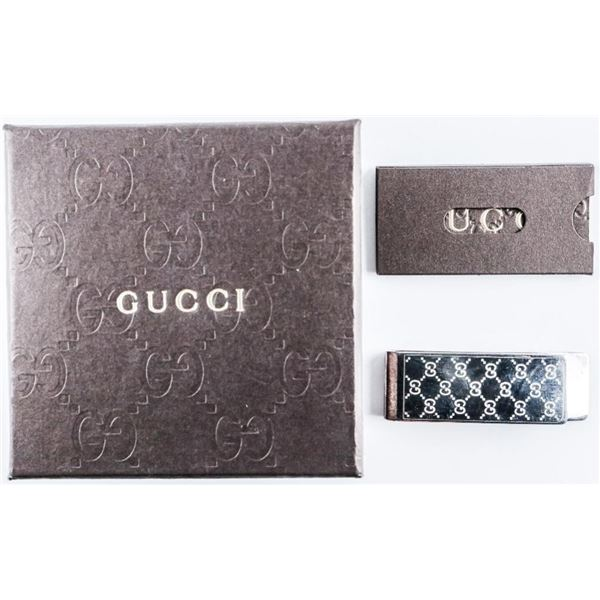 Estate GUCCI 925 Sterling Silver Money Clip  with Case and C.O.A.
