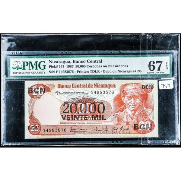 (584) Nicaragua, Banco Central 1987 20,000  Cordobas, on 20 Cordobas PMG. GEM UNC 67