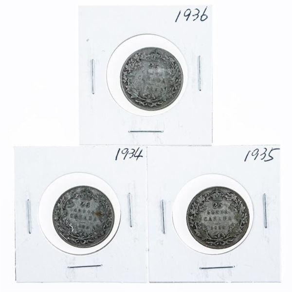 Lot (3) Canada Silver 25 Cents