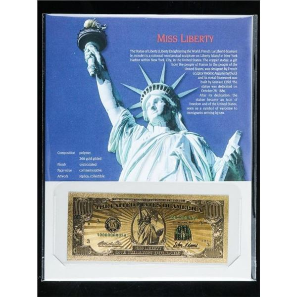 Miss Liberty 24kt Gold, Gilded Million Dollar  Note with 8x10 Art Stand