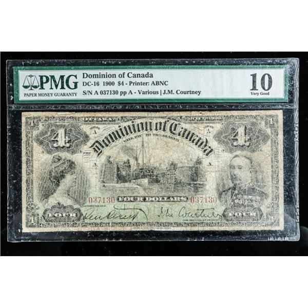 Dominion of Canada - 1900 4.00 VG10 'PMG'  Note