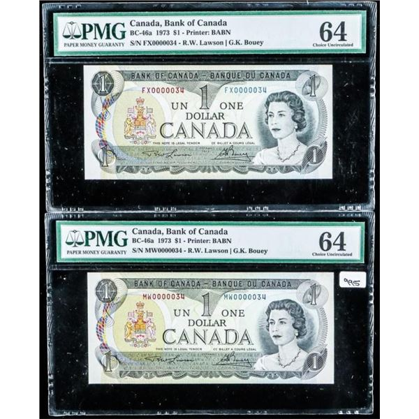 (553) Lot (2) Bank of Canada 1973 1.00 Choice  UNC 64 Matched Low Number Serials (0034)  (M/W and F/