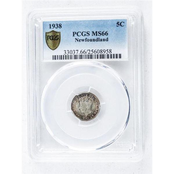 1938 NFLD 5 Cents PCGS. MS66
