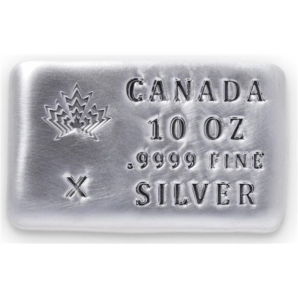 Canada Maple Leaf Collector Bullion Hand  Poured Brick .999 Fine Silver '10 Ounces'  'CANADIAN SILVE