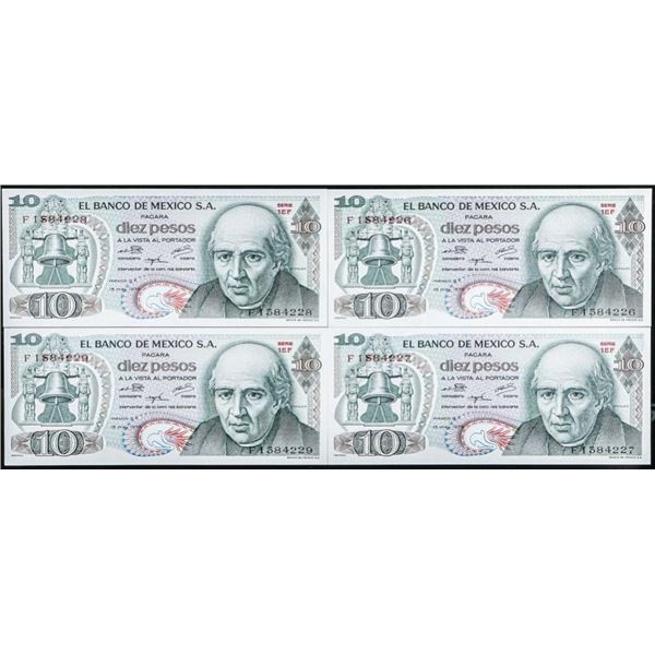 Lot of 4 Mexico 10 PESOS 1975 P 63 AUNC ABPUT  UNC Sequential Serial F1584226 to F1584229