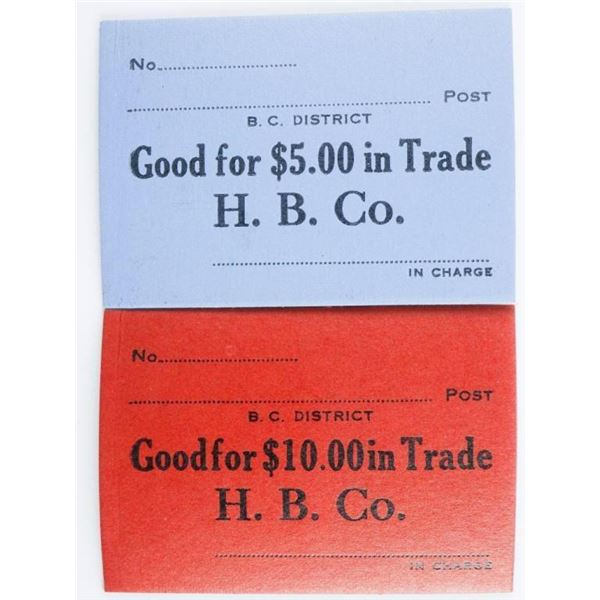 Hudson Bay Co. Fur Trade Script; 10.00 and  5.00 Denomatic Very Scarce