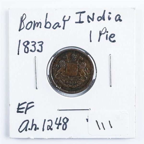 India 1833 1 Pie (EF) A.H. 1248
