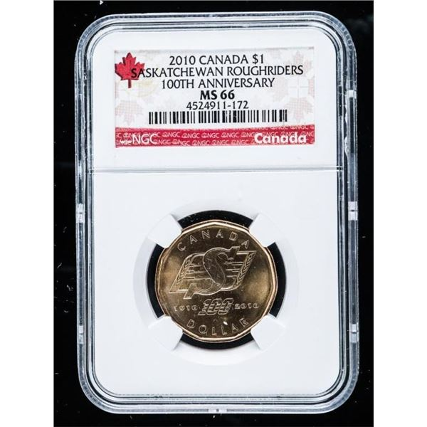 2010 CANADA 1.00 Saskatchewan Roughriders  100th Anniversary MS66 NGC