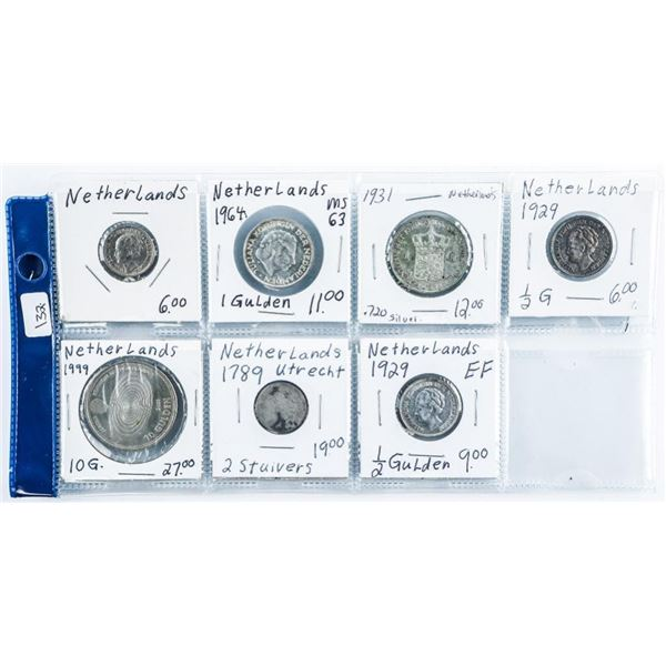 Group of (7) Coins of Netherlands 1789-1999  Eras 1.0368 ASW