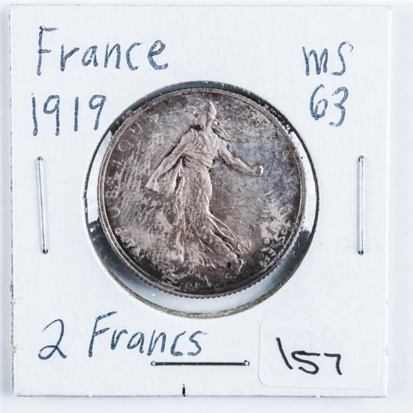 France 1919 2 Francs .2685 ASW MS63